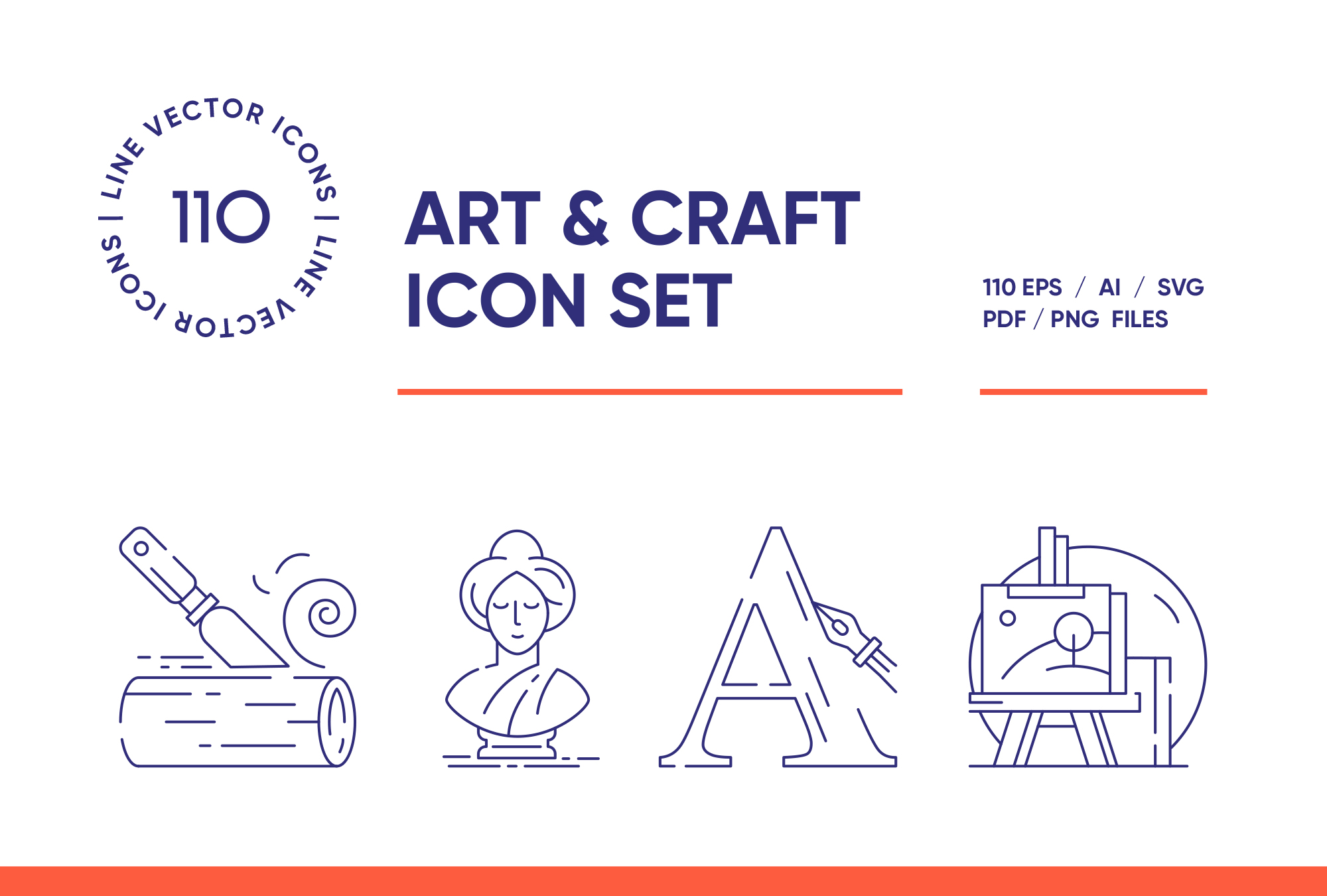 Art and Crafting – 110 Line Icons