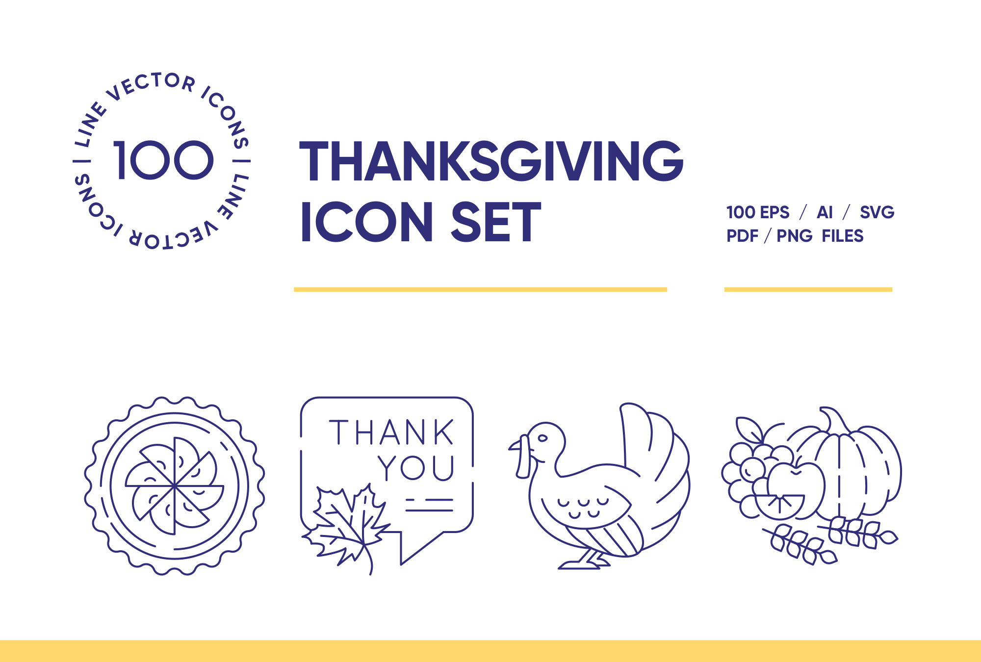 Thanksgiving Day  – 100 Line Icons