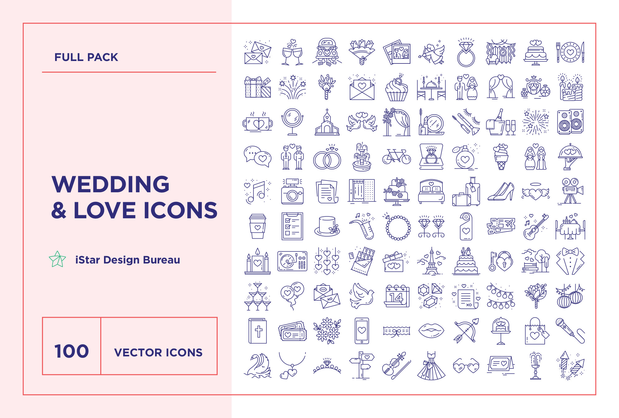 Wedding & Love – 100 Line Icons
